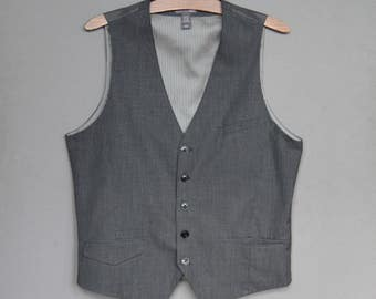 Vintage Mens Grey Vest Formal Waiscoast Gentlemen's Classic Fitted Waistcoat Grey Checkered Mens Vest