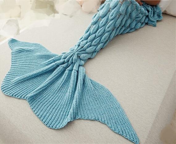 Bleu sirène écailles Crochet couverture, couverture de sirène, prendre une sieste Crochet couverture, couverture d'hiver 80x180cm