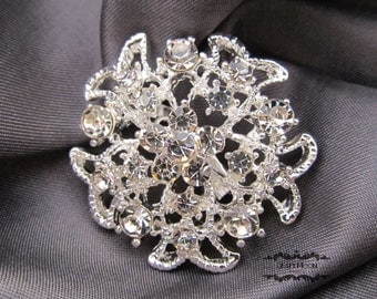 1-50 Wholesale Brooch Rhinestone Brooch Bouquet Wedding Pin Invitation Cake Shoe Hair Comb DIY Button Embellishment Silver Brooches BR226