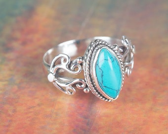 Turquoise Ring,  Blue Gemstone Jewelry, December Birthstone Ring, Handmade Ring, Starling Silver Turquoise Ring, Gift For Her, BJR-443-TU-A