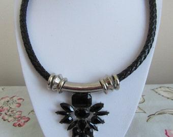 Statement bib black jewel metal tube cord necklace vintage retro 80s 90s gothic