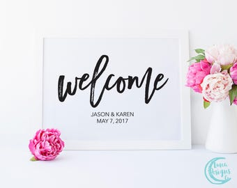 Printable Welcome Sign / Welcome Wedding Signs / Handwritten Sign / Wedding Welcome Sign / Black and White Sign / Maddie Suite