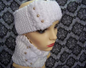 Wide headband with cache neck (snood) (white) with beads #16 #215
