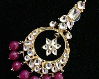 Ahmadabadi Kundan & Onyx Earrings | Mirror Chandbali