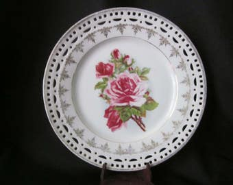 C S Carl Schumann Bavaria Reticulated Rose Plate