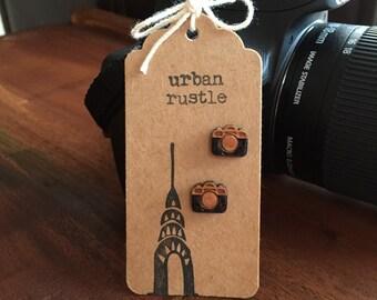 Vintage camera stud earrings - retro wooden earrings - wooden studs - wooden jewelry - wooden jewellery - hipster earrings -hipster studs