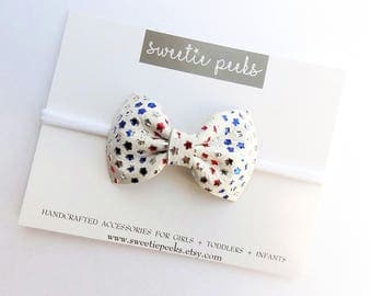 Girls Patriotic Leather Classic Bow   Red White & Blue Star Bow   Patriotic Stars Hair Bow  