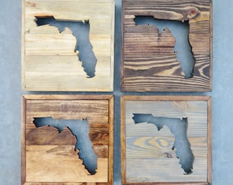Rustic Reclaimed Wood State of Florida Cutout / Custom Wall Decor