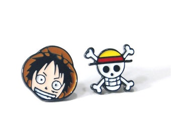 Luffy Skull Anime Stud Earrings