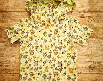 Boys woodland critters Organic hooded t-shirt, made to order, baby wearing friendly organic top. Animals In The Woods jersey fabric