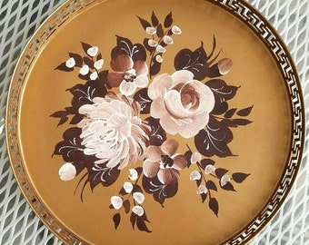 Tray - Hand-Painted Metal  – c. 1960 - Nice Vintage Condition