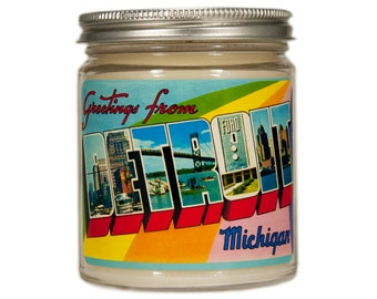 Detroit Candle, Detroit Gift, Michigan Candle, Custom Scented Candle, Container Candle, Soy Candle, Vintage Detroit, Detroit Postcard