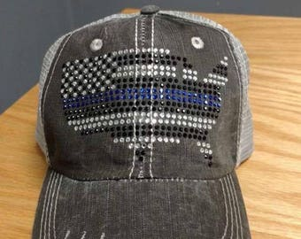 Police Support Distressed Bling Trucker Hat