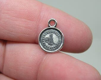 10 Silver Tone Small Coin Charms. B-021