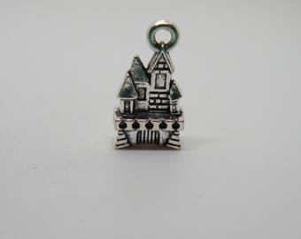 5 Silver Tone Castle Charms. B-007