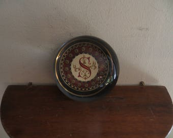 Studio Art Glass Crystal Paperweight France w/ letter S