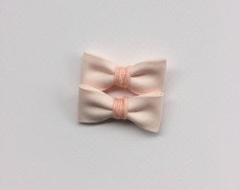 Pale peach Jane bows | pigtail bow set || limited edition