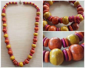 Wooden beaded Yellow, Orange, Pink and Red long necklace - wooden necklace