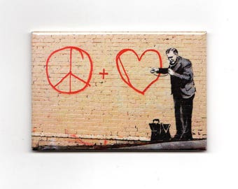 Banksy Magnet - Peace + Love