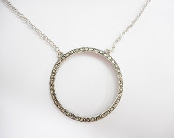 Sterling Necklace, Circle Of Life, Vintage Necklace, Vintage Sterling Silver Marcasite Circle Of Life Eternity Pendant Necklace #2013