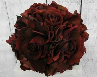 Rose wedding bouquet - Velvet red rose Bride bouquet - Burgundy bouquet - Wine Bridal bouquet - Silk wedding flowers