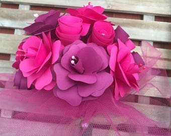 Paper flower bouquet in Eggplant and Fuchsia
