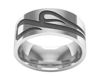 Sterling Silver Arabic Letter Mim Band Ring, Two Mim Ring, Arabic Calligraphy Ring, Arabic Wedding Band Ring, Arabic Ring, Islamic Ring