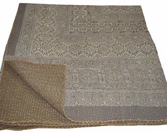 vintage indian kantha quilt handmade ajrakh hand block print 100 cotton bed cover bedspread blanket