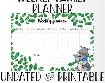 Weekly Family Planner - A4 Undated Art Print Digital Poster