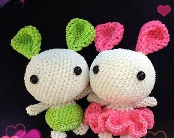 Rainbow Loom Love Bunnies (set of two)