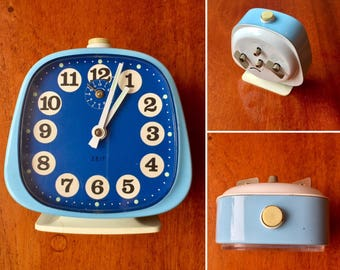 Good Morning! Blue alarm clock from 1970s Germany with a nice retro feeling