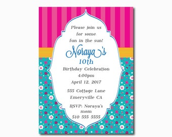 Kids Tea Party Invitations,Girl Birthday Invitation,Vintage Girl Birthday Invitations,Shabby Chic Birthday Invitations,Country Chic Invite
