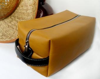 Leather dopp kit Travel bag Cosmetic bag yellow suitcase Makeup bag leather Original gift large cosmetic bag makeup organizer storage Box