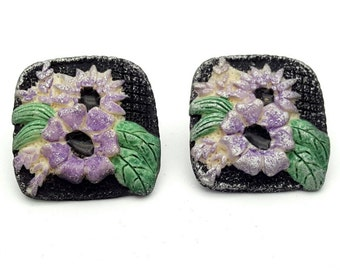Black Flower Resin Square Stud Earrings Vintage from the 90s Purple Echinacea Summer