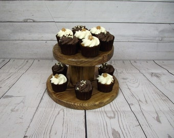 SALE SALE SALE reclaimed wooden cupcake stand. wooden cake stand. Tea for Two. cupcake stand for weddings. wedding gift
