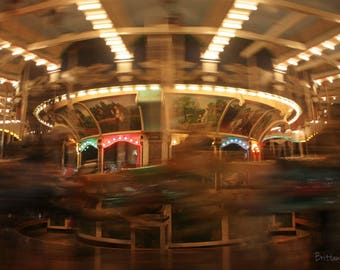 Carousel Fine Art Nighttime Photo Print