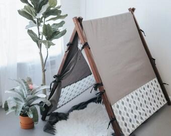 Grey Aztec Canvas Kids Play Tent