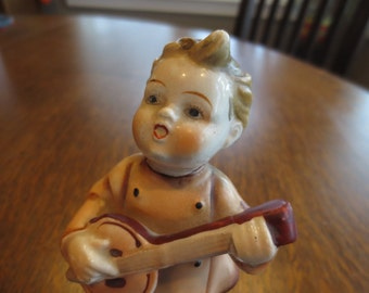 Vintage Bisque Figurine-Little Girl Playing Banjo with Scotty dog