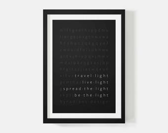 Minimalist Print, Light, Motivational Poster, Quote Posters, Typography, Black and White Print, Wall Art Print, Gifts for Men, Office