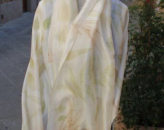 Hand painted Silk scarf, Silk Scarf, Leaf pattern, Made in Italy, Scarves for women, Silk fabric, Ecoprinting, gifts
