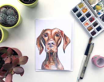 Vizsla watercolour greeting card, Hungarian Vizsla card, Hungarian Vizsla gift, Hungarian Vizsla dog, Hungarian Vizsla present, Vizsla card