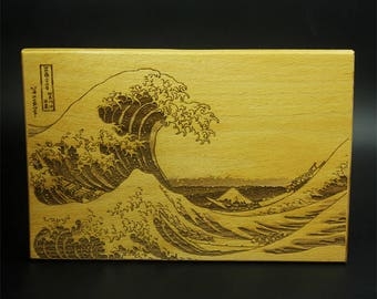 Laser Engraving Stereoscopic The Great Wave off Kanagawa