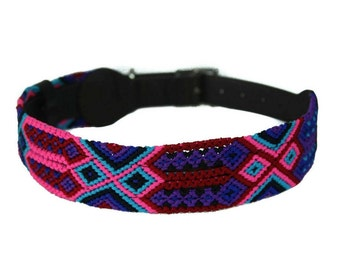 Sangria Dog Collar - Blue/Pink/Purple