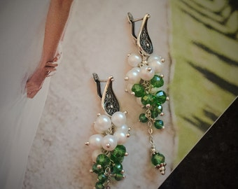 Pearl Cluster Bridal Earrings Green Wedding Earrings Spring Wedding Jewelry