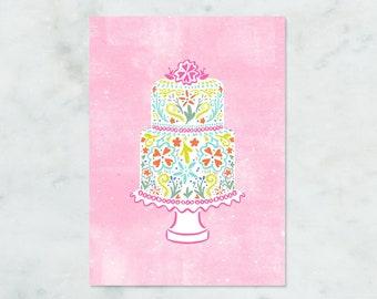 Cake Greeting Card, Birthday, Anniversary, Wedding