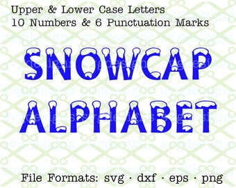 SVG Letters, Svg Dxf Eps & Png. SNOWCAP Svg Alphabet, Winter Monogram Letters for Cricut, Silhouette; Christmas Svg Files, Svg File Designs