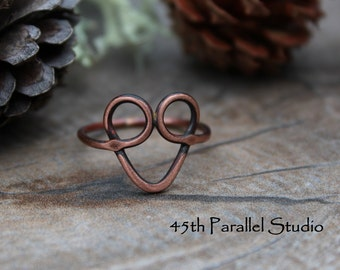 Copper Heart Ring, Valentines Heart Ring, Copper Wire Ring, Rustic Jewelry, Heart Ring, Gift For Her, Rustic Copper Ring, Wire Jewelry