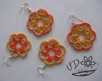 Lace Earrings Citrus Orange and Grapefruit
