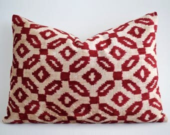 SALE! Handwoven Silk Luxury ikat velvet pillow, pillow, velvet, ikat pillow cover, velvet pillow, ikat, throw pillow, velvet ikat pillow