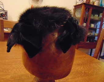 Vintage Black Mink Hat with Four Velvet Bows (free shipping)